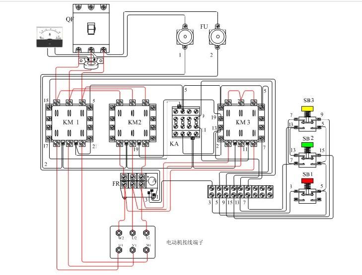 三相异步电机接线图:三相电动机的三相定子绕组每相绕组都有两个引出