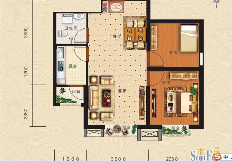 这是两室两厅的房间平面图,请哪位设计一下怎样能把两图片