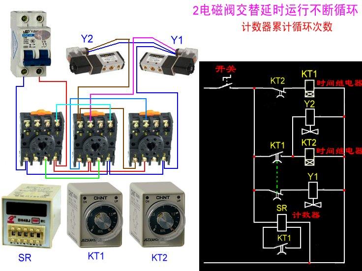 两个电磁阀两个延时继电器控制两个气缸循环动作,并用