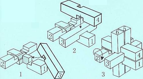 """孔明锁9根解法图""""梅花"""",怎么变回原形?"""