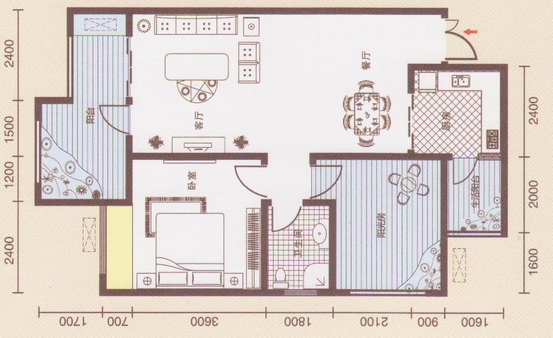 跪求83平方的房屋设计图?
