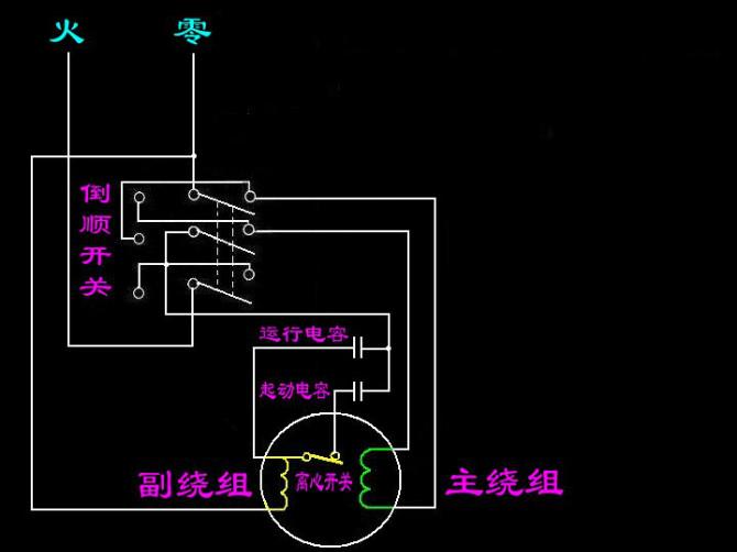 220v搅拌机的电机与到顺开关的接线法.