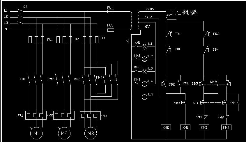 这个电路转换成继电器和plc的双重控制电路图?急切求解!三菱的