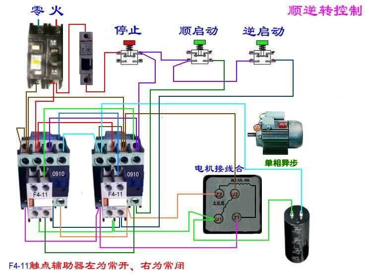 220v電機用接觸器正反接線圖著急