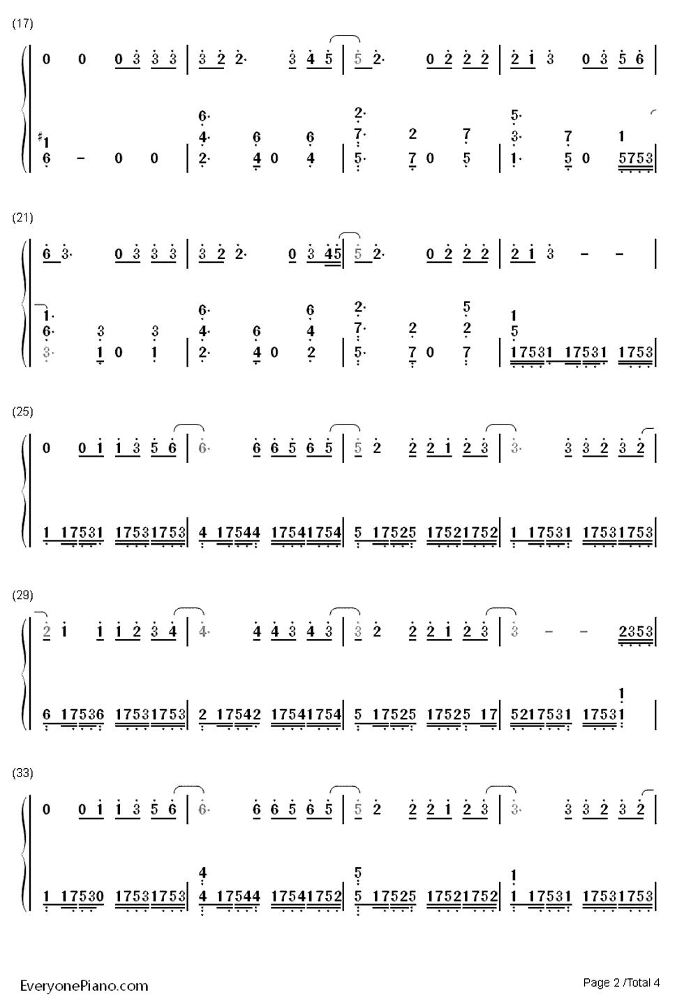 泡沫钢琴谱简谱