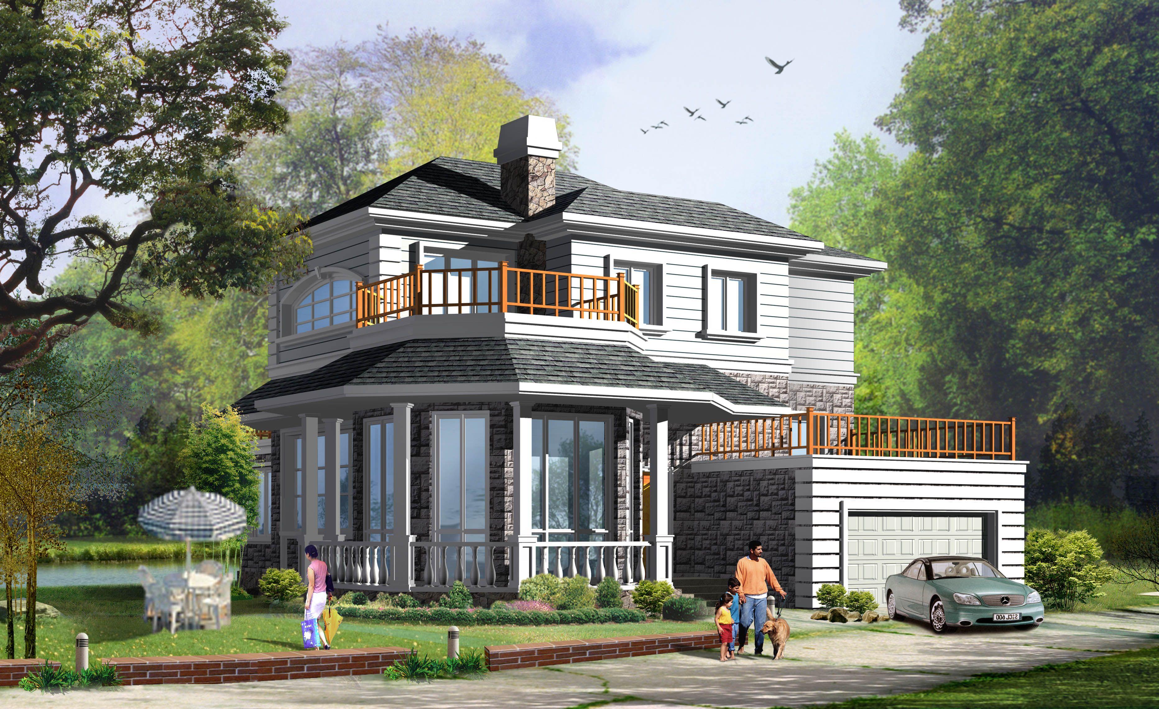 求一套别墅设计图(两层400平左右)平刨立面以及效果图联排别墅户型文案图片