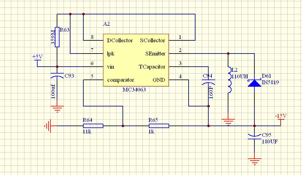 按照下图设计的mc34063反转电路,但是输出只有-6v,达不到要求的-15v是