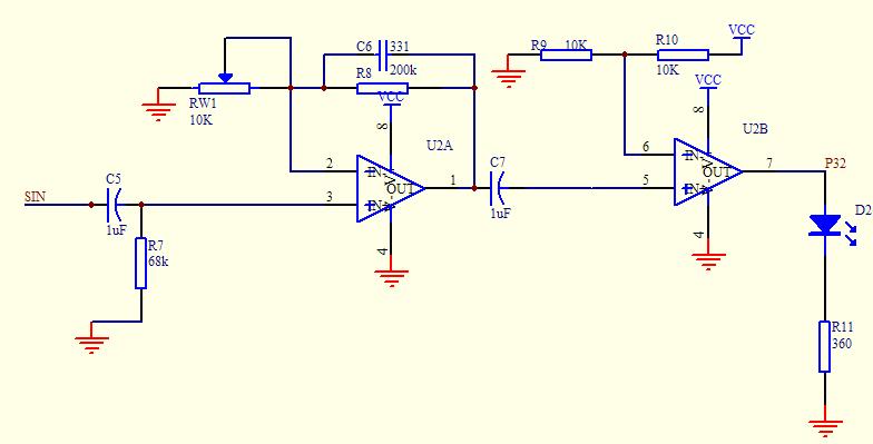跪求模电大神解释一下这个电路,运放是lm358,左端sin是信号输入