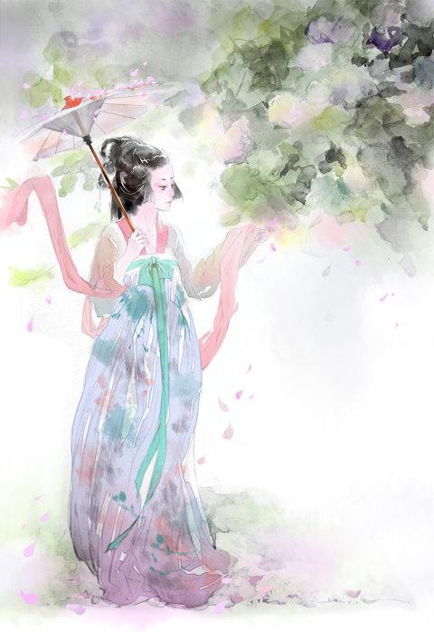 古典美女手绘图片