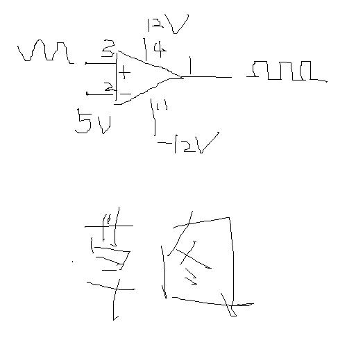 用lm324搭一个正弦波转变成方波的电路图
