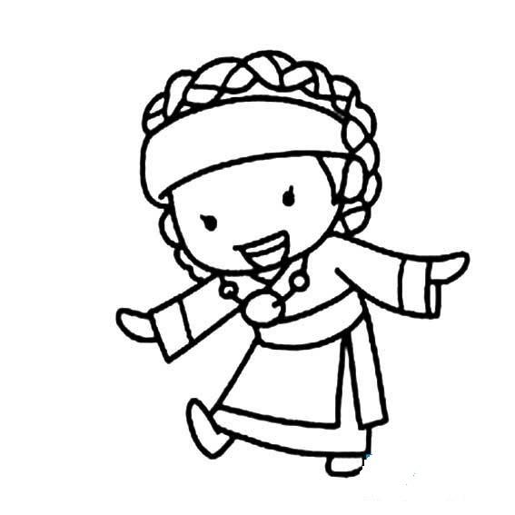 藏族女孩简笔画五年级怎么画