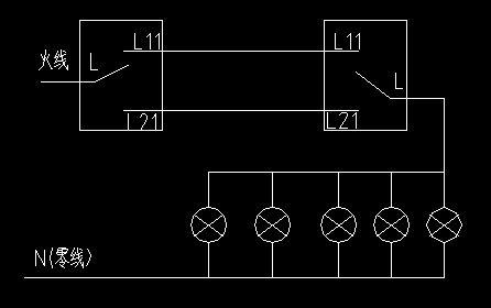 展开全部 家用照明三灯泡双向开关详细接线图,如果是要双控开关控制