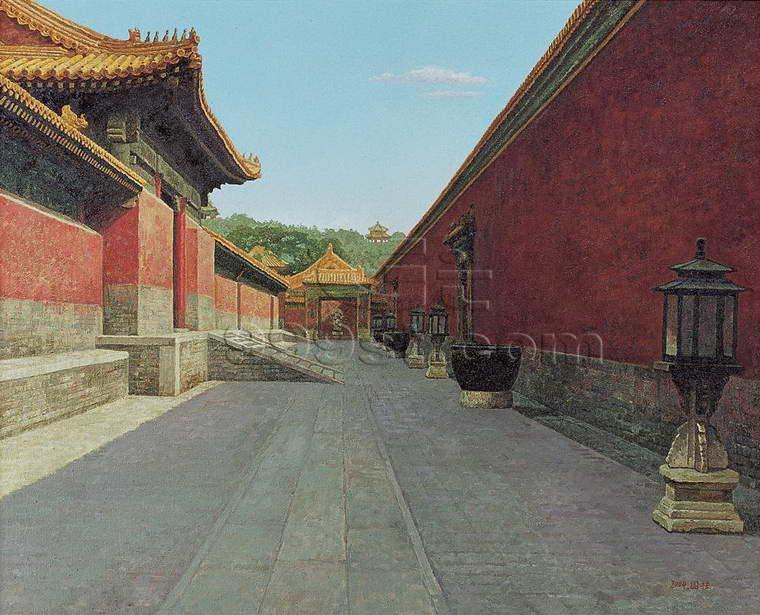 求古风手绘住宅皇宫背景