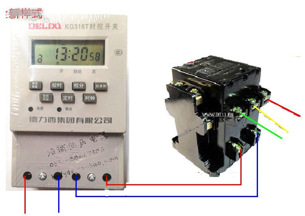 时控开关和一个交流接触器的接线图