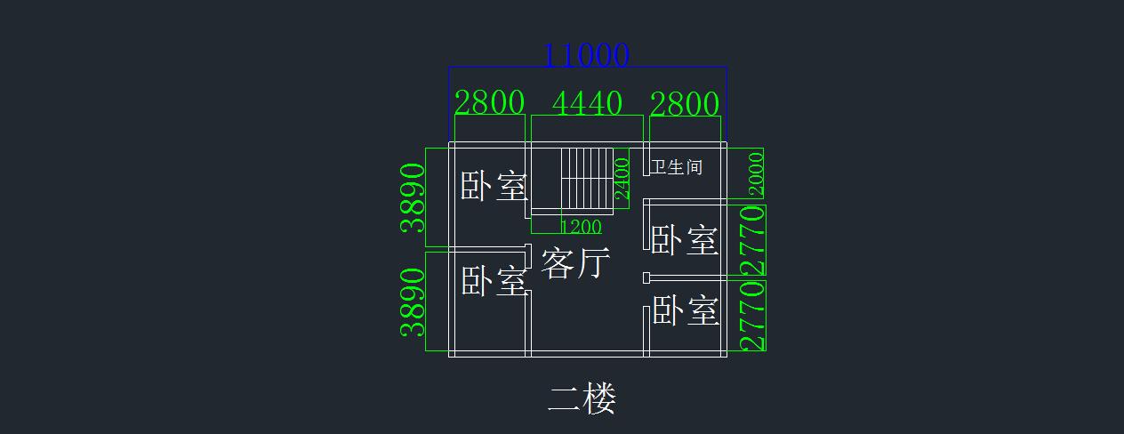 求二层房屋设计图,要求面向南8.5米东西11米.上下2层.图片