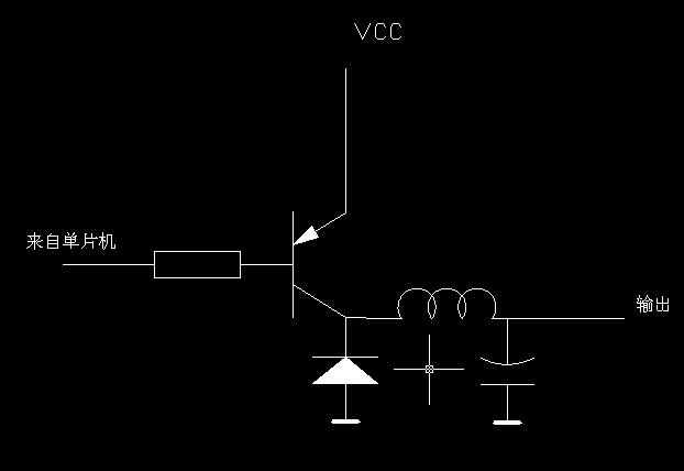 pwm波然后接三极管,可起到功率放大的作用,下图是带滤波的驱动电路