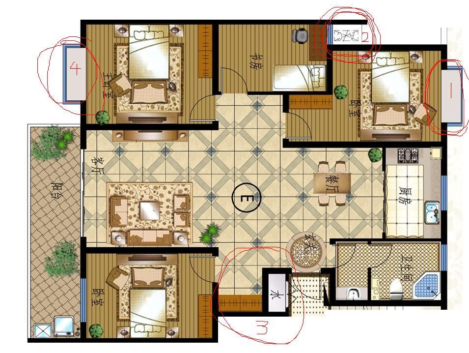 150平房间平面图,进门处和进门卧室很难处理,求设计.