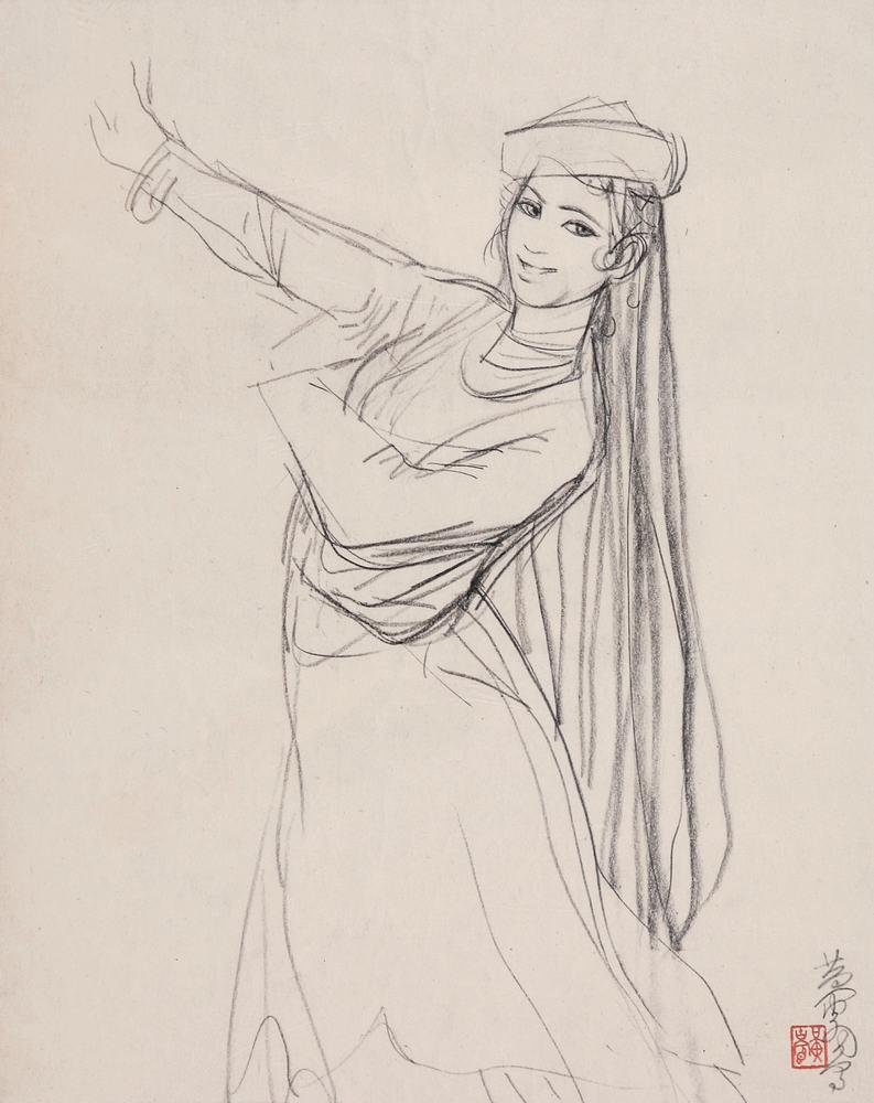 维吾尔族服装手绘