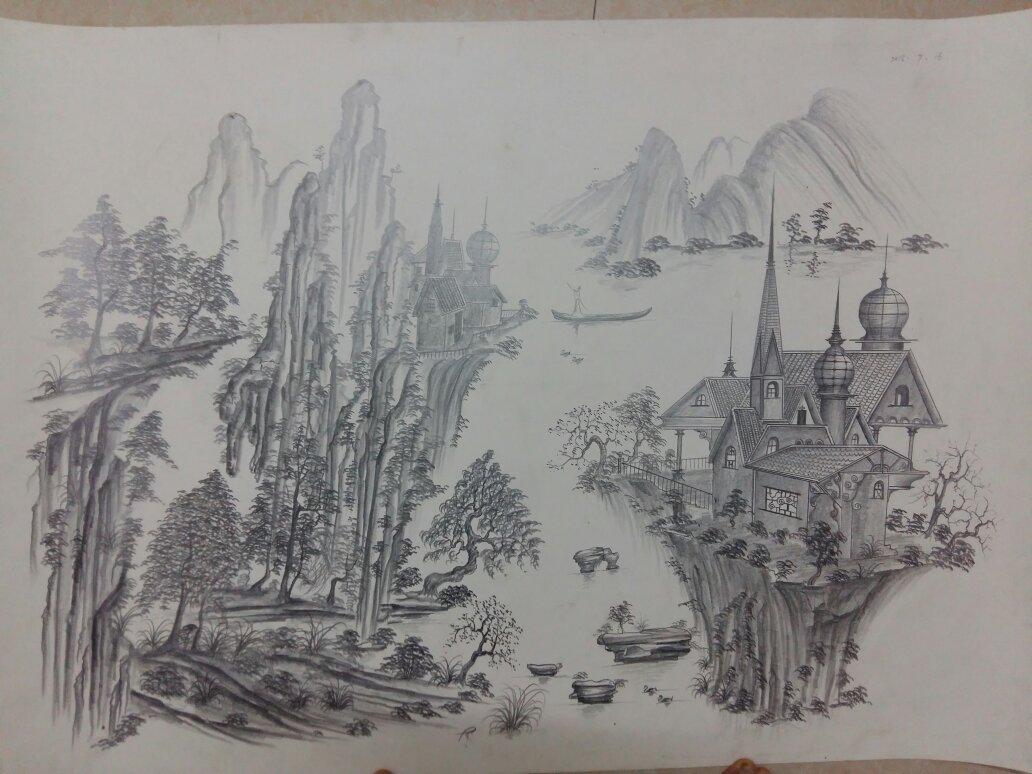 铅笔画的素描山水画请问各位见得多吗?比较清秀古典的