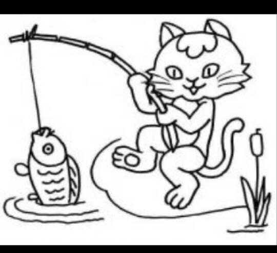 求小貓釣魚的故事配圖,四副,簡筆畫也可以