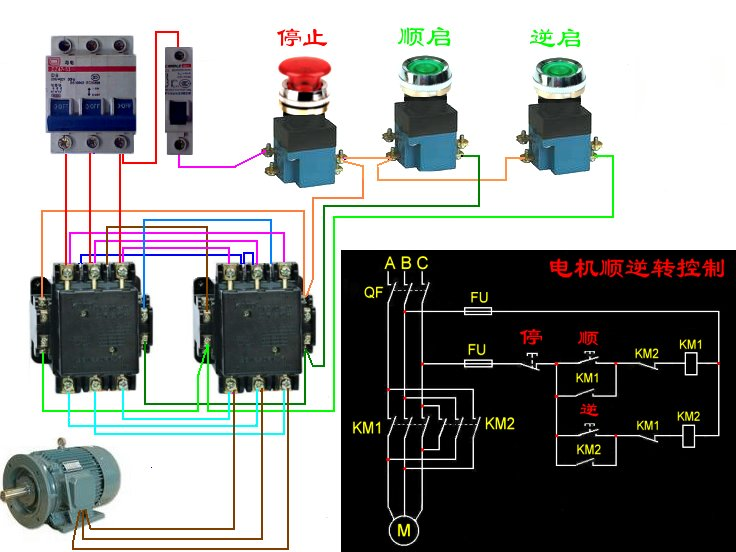 接触器按钮控制380电动机电路图