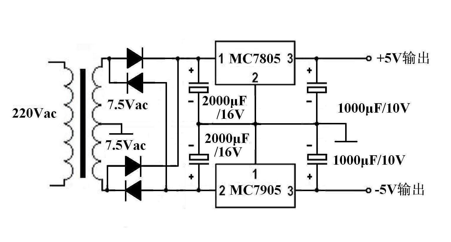四支滤波电解电容,7805和7905各一片,实用电路如下图——  本回答由