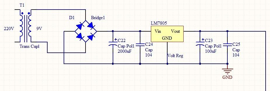 220v变压器20v,整流桥,滤波电容,15v稳压管,具体看图,这个是5v变压,你