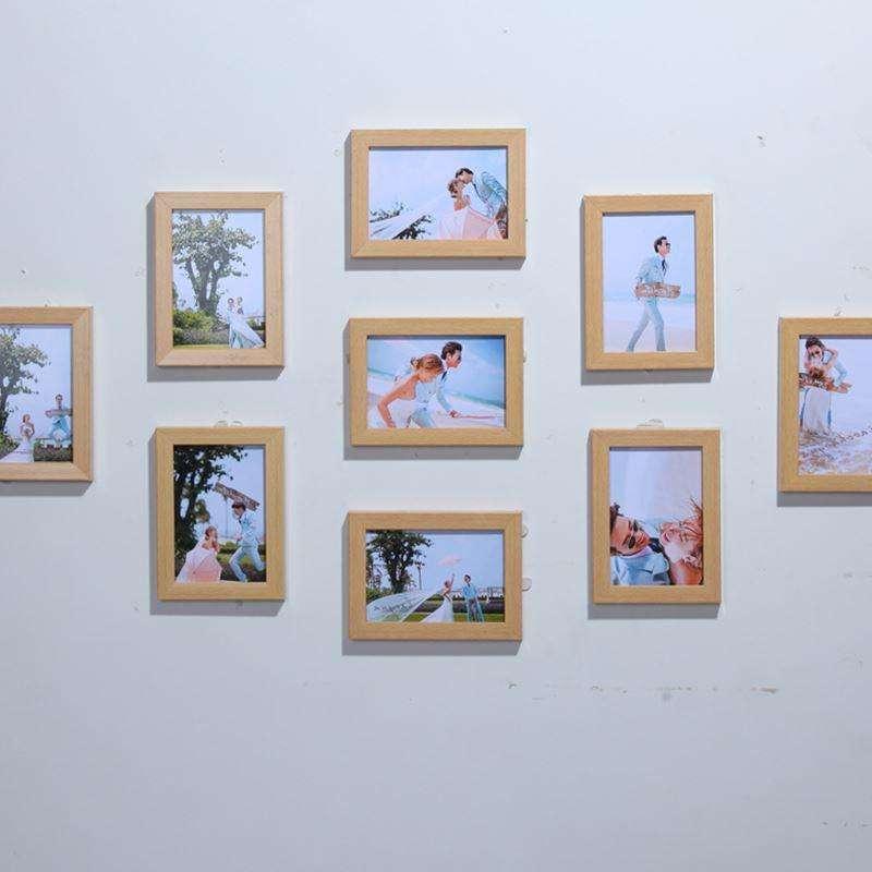 两个竖七横的相框做九宫格相片墙如何好看图片