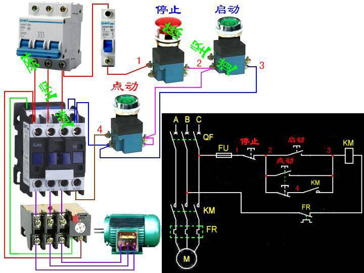 求三相异步电动机正反转自锁加点动电路图. 还有原理