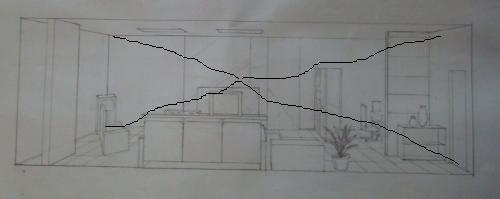 一种是两点透视,左右两边上下两条线是平行的,集中交积于图的中间一