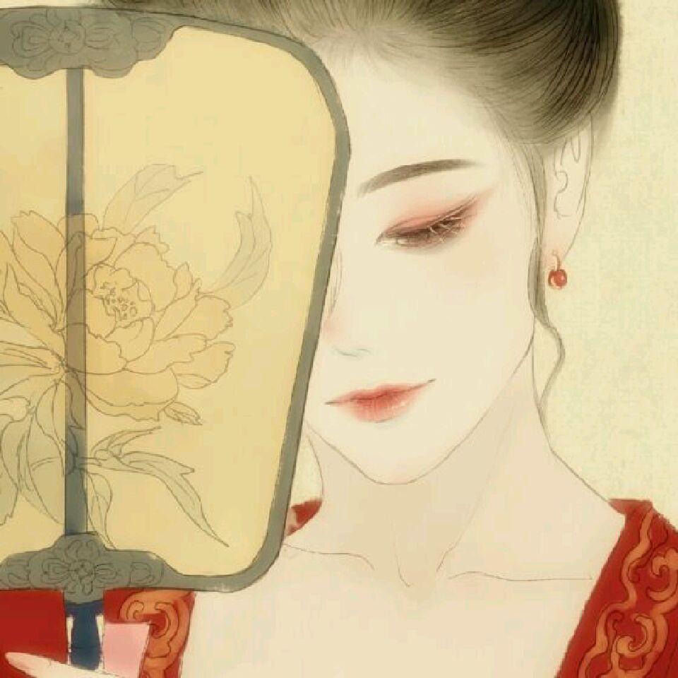 求一张古风手绘图片.整体很复古.一个唐朝女子,头饰是
