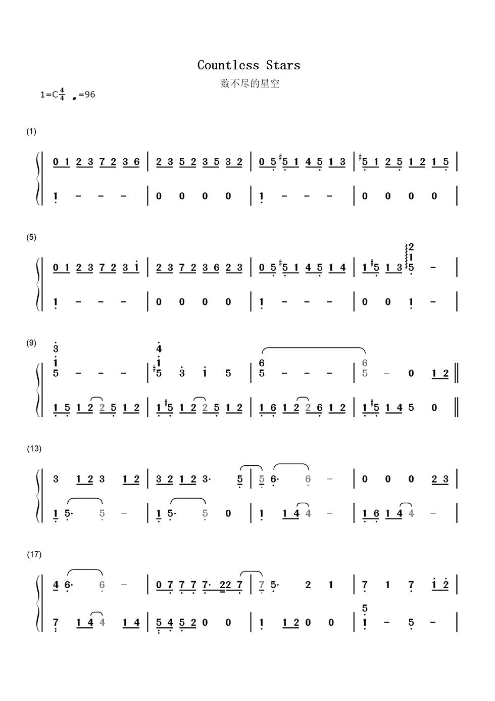 数不尽的星空的数字钢琴简谱要的是数字简谱,而不是五线谱图片