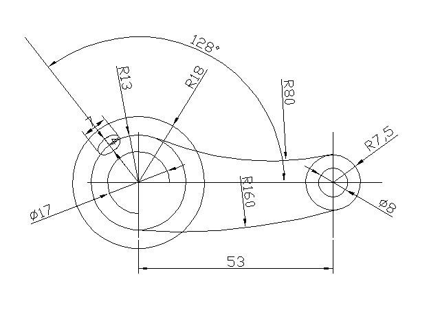 cad比例圆标注外两个cad改相切圆弧图片