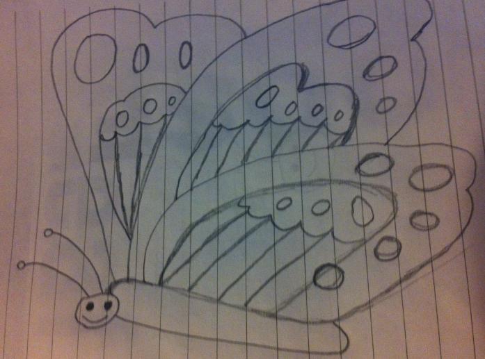 铅笔画蝴蝶照片
