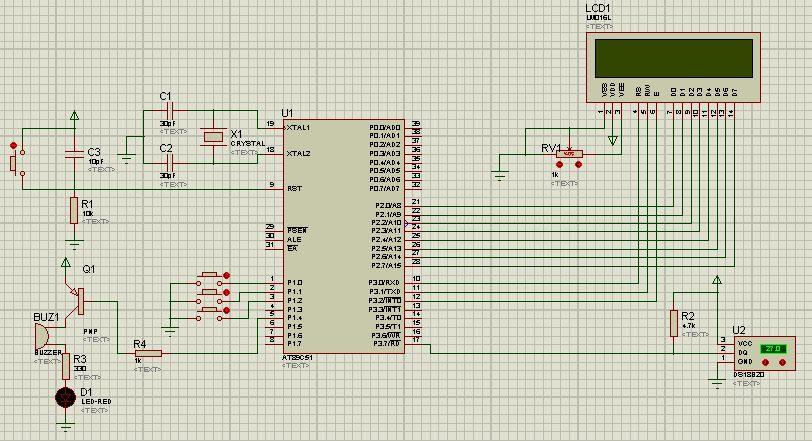 求基于at89c51的数字温度计的电路图和c程序代码,有控制上下限温度的图片