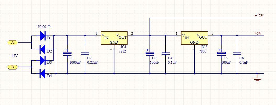 输出两路正电压的直流稳压电源 ,输出为5v和12v,急求电路图