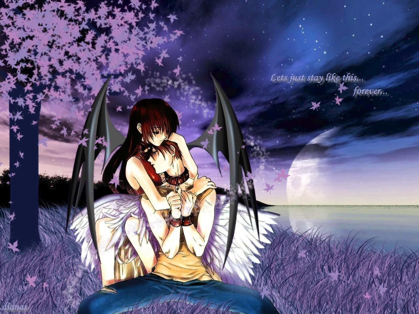 一对恋人一起坐在海边的动漫图片,背景为蓝色