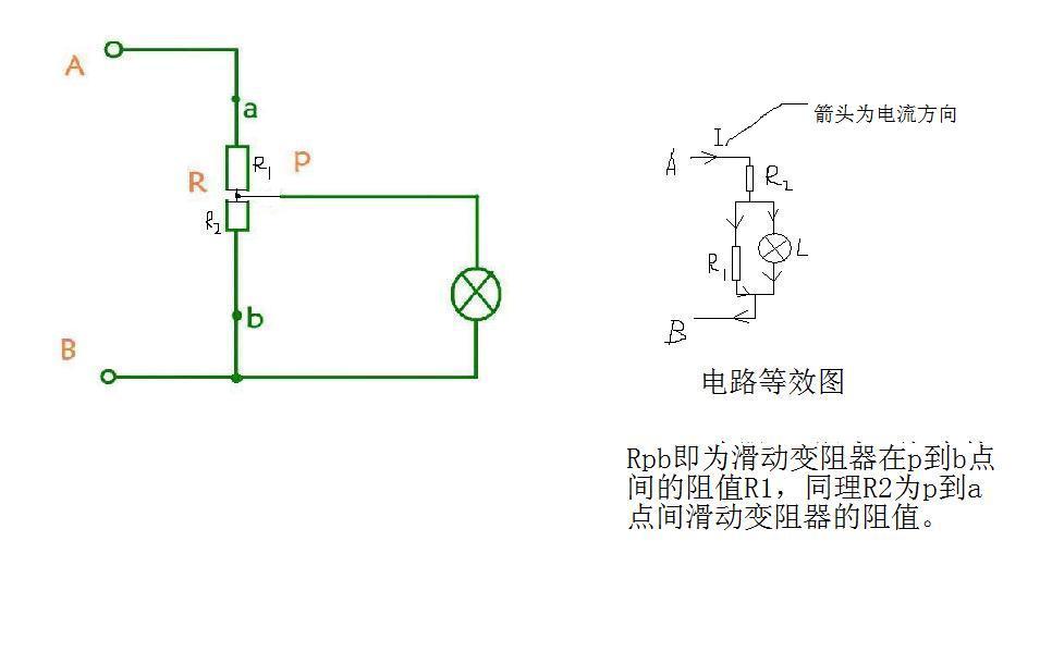 (1),这是一个混联电路,电灯和r的下半边并联,再和r的上半边串联 (2)