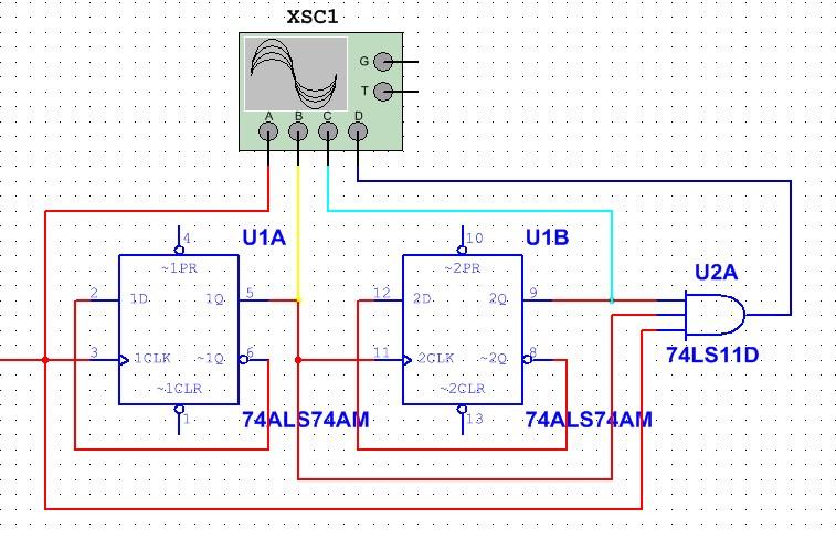 先用两个d触发器组成四分频电路,然后将cp,二分频,四分频用与门电路