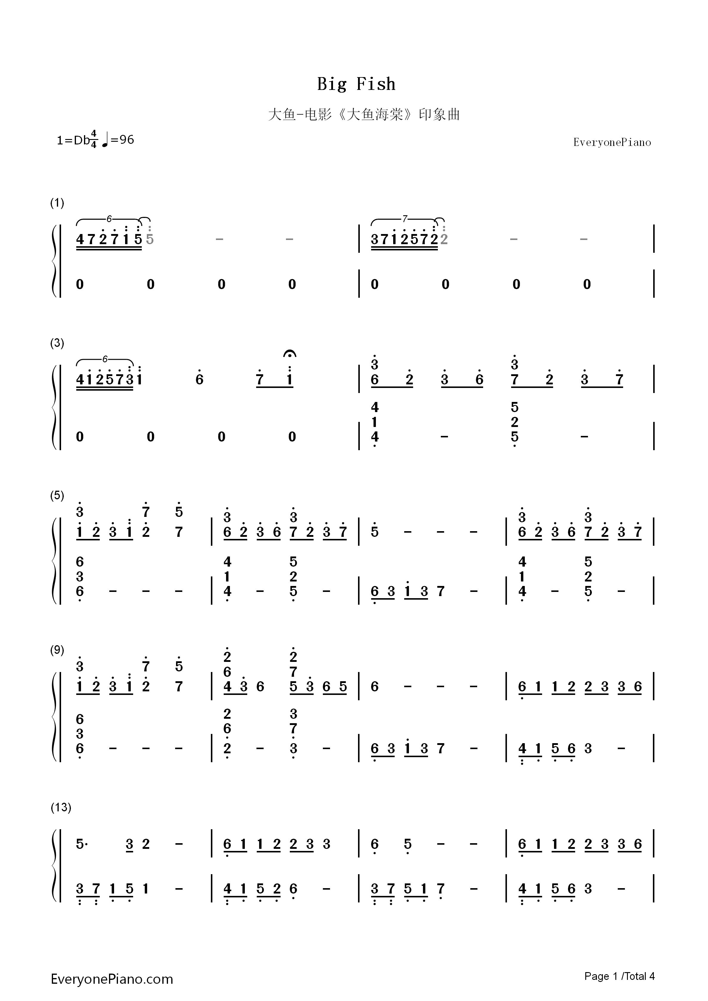 大鱼电子琴简谱数字版