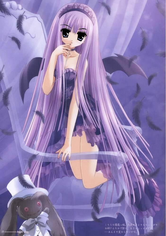动漫女孩,长头发到膝盖是紫色的,底下弯一些,眼睛是红色的,旁边还有