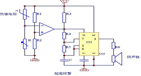 温度自动报警器的电路图