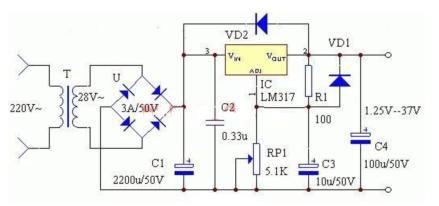 求一个电路图?lm317可调稳压电源?输入ac=12v?务必不会烧坏电位器?