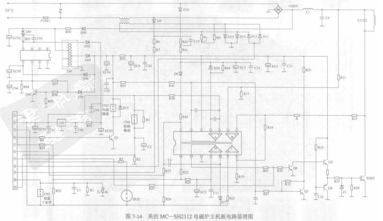 美的mc-sh2112电磁炉烧保险丝的检修流程
