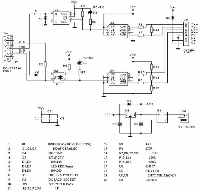 rs232转rs422电路原理图