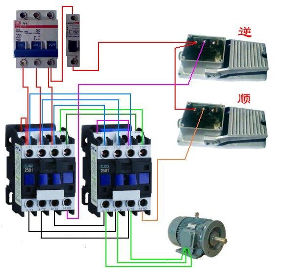 交流接触器cjx2-1201型怎么接,两个,脚踏开关控制,控制电机正反转?图片