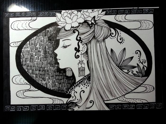 黑白线描画作品不要太简单,也不要太难.
