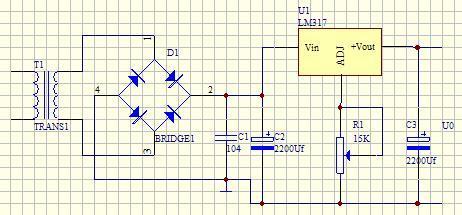 变压器用220v变10v/3w,整流二极管用in4001,电解电容器耐压16v