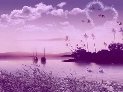 求绿色,紫色风景图片