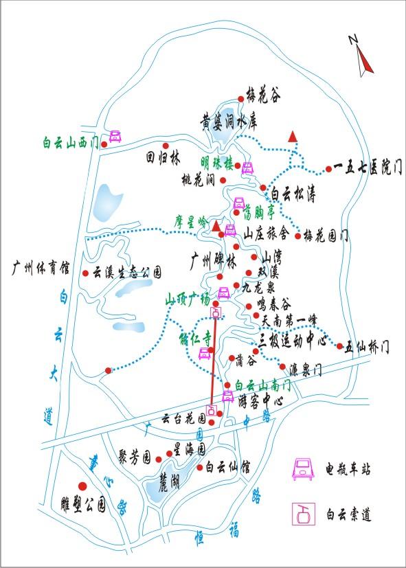 广州白云山景区线路图